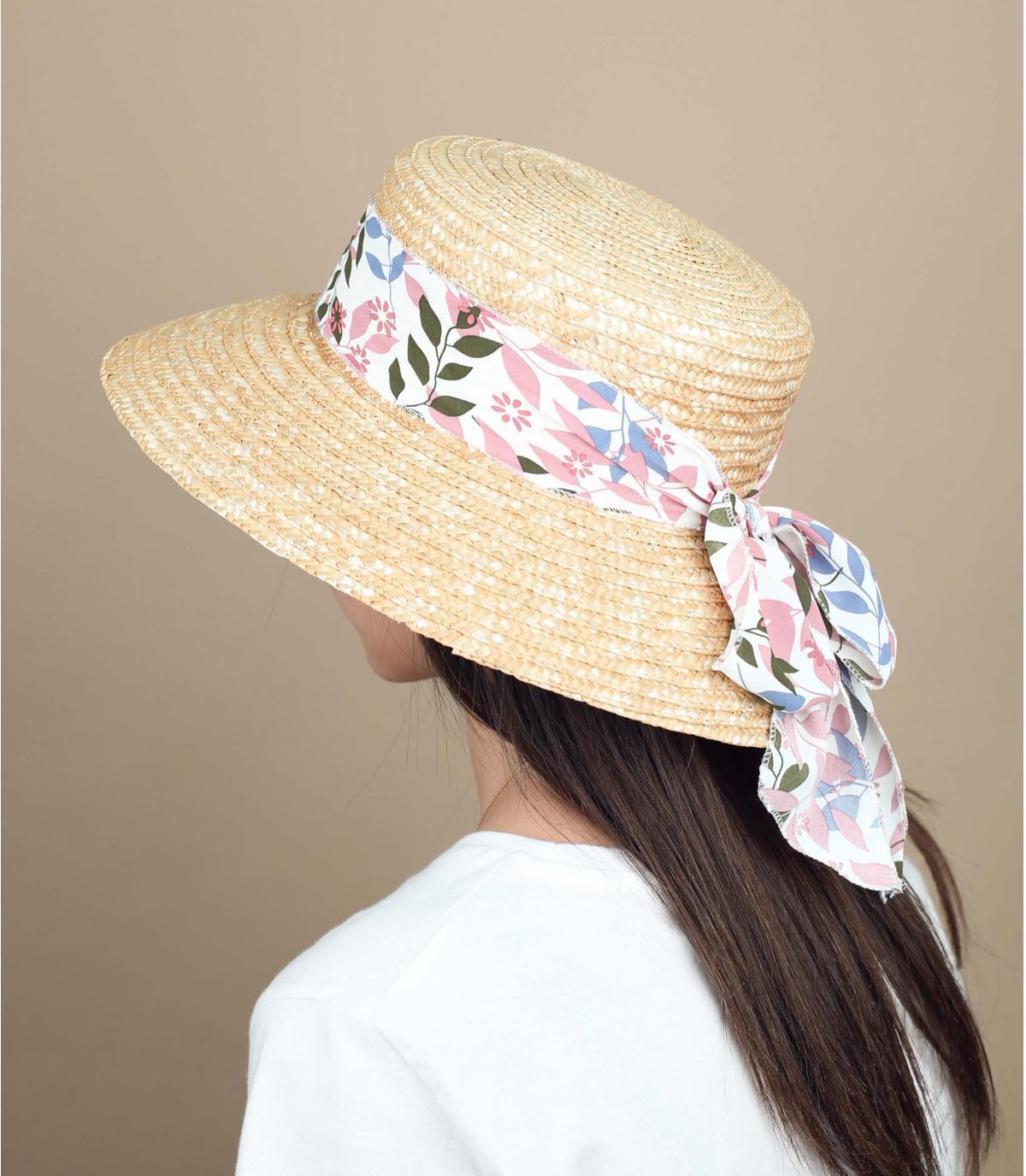 straw hat pink scarf