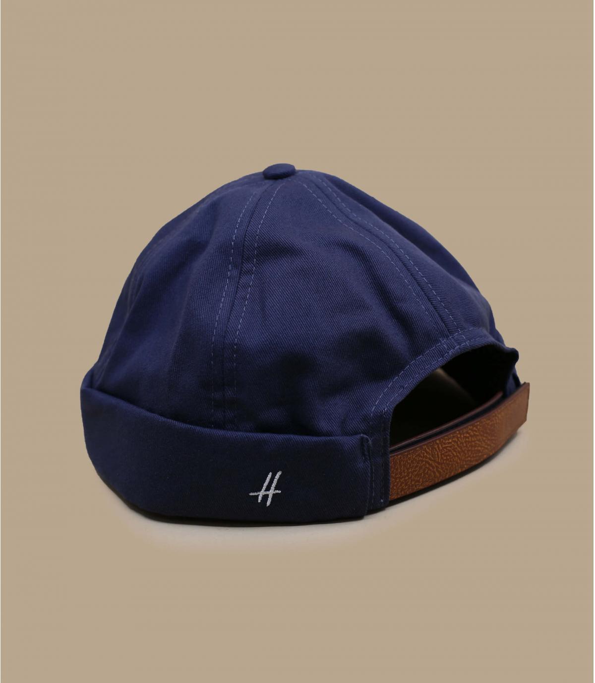 blue docker beanie leather