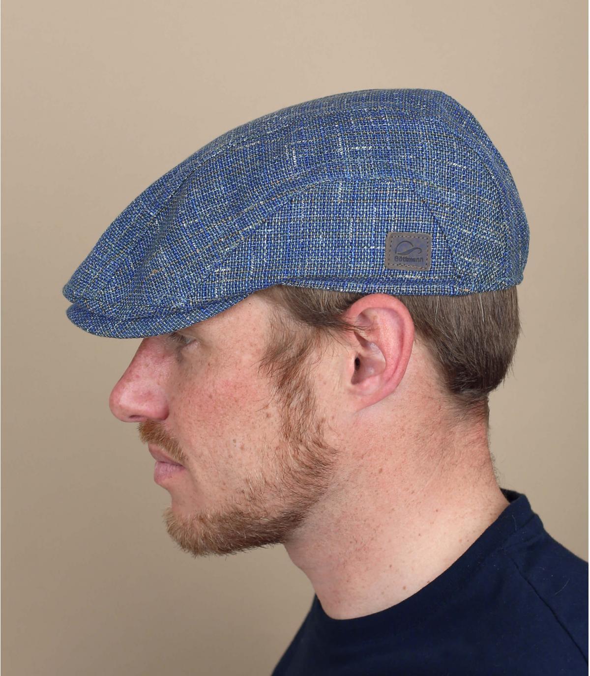 blue flat cap linen Göttmann
