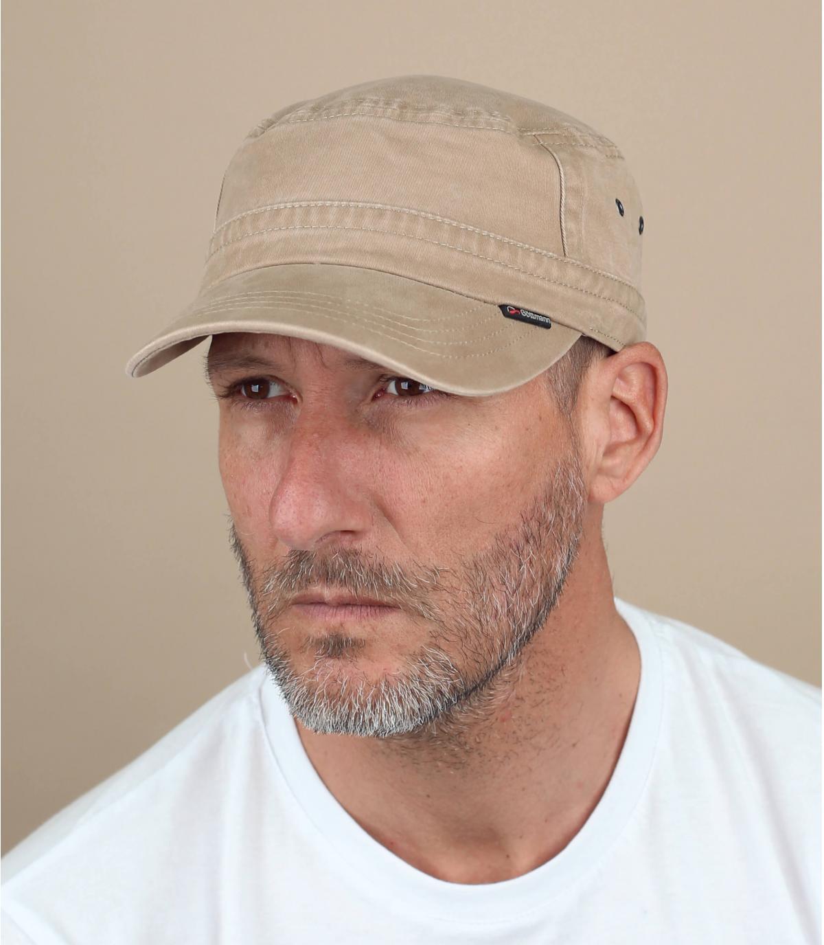 beige military hat