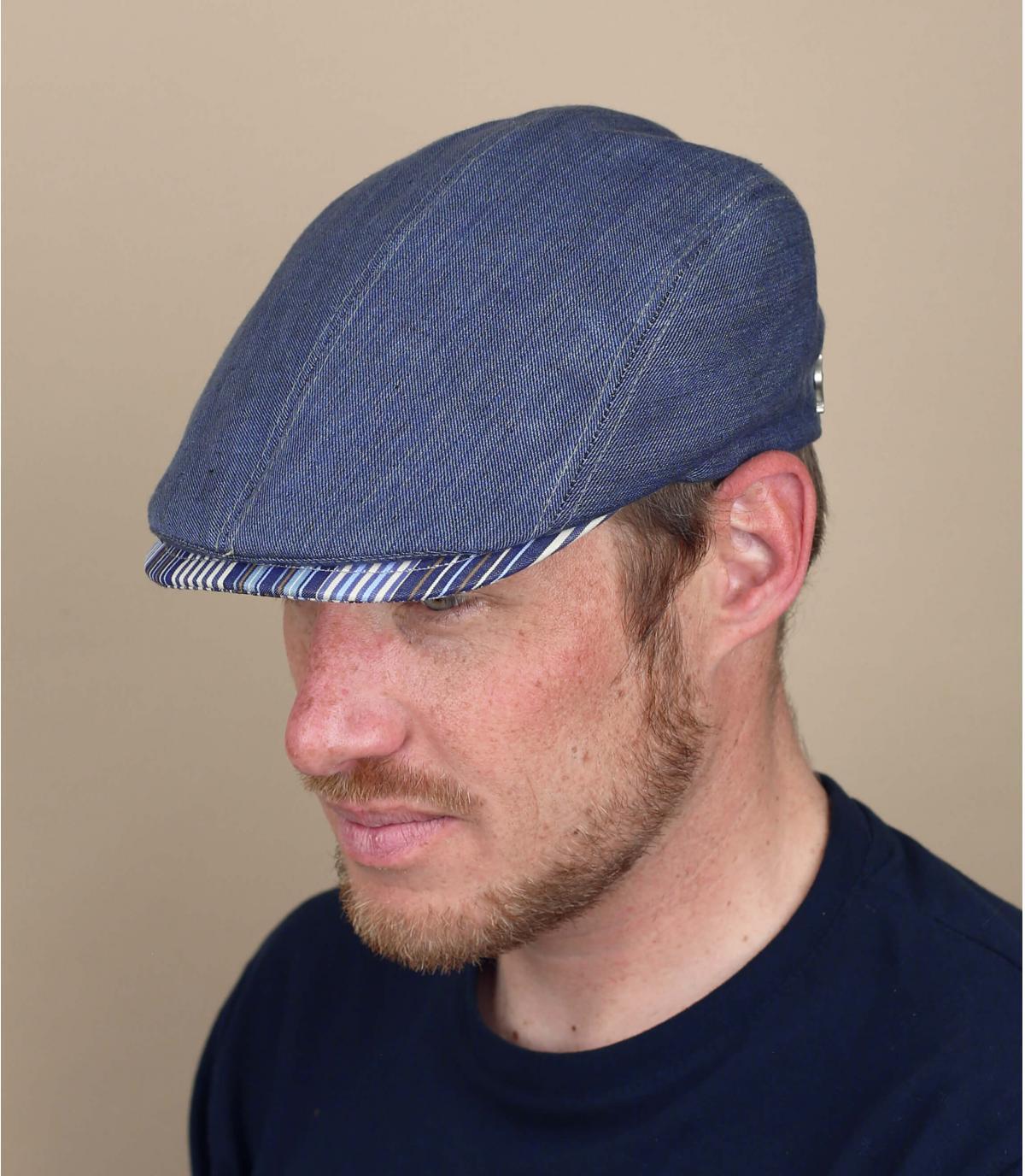blue flat cap linen