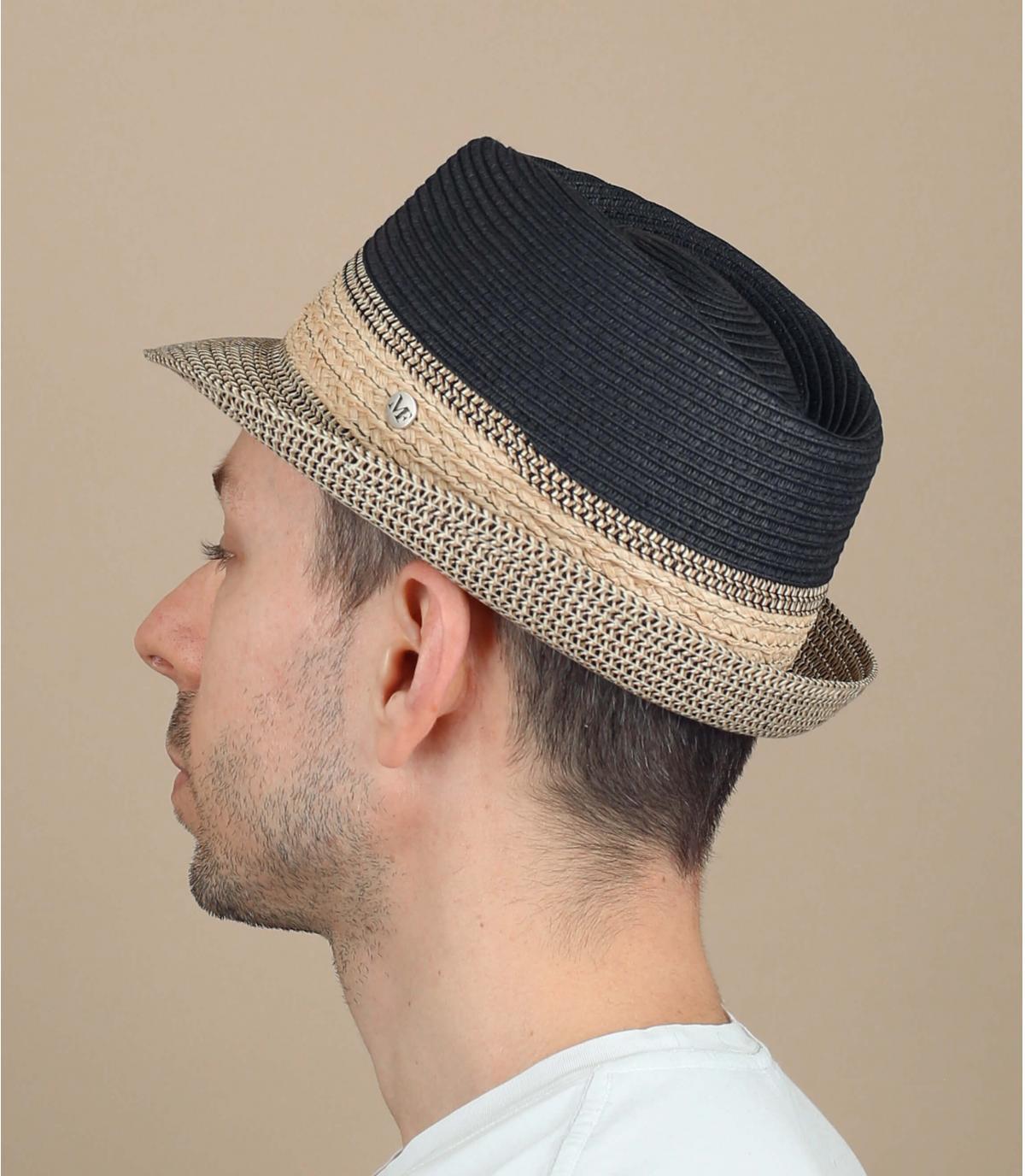 straw trilby beige black