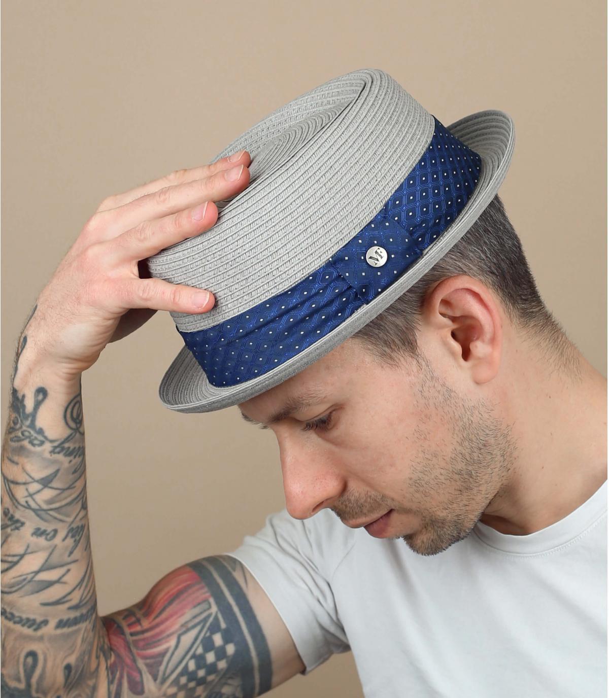 Grey straw hat blue ribbon