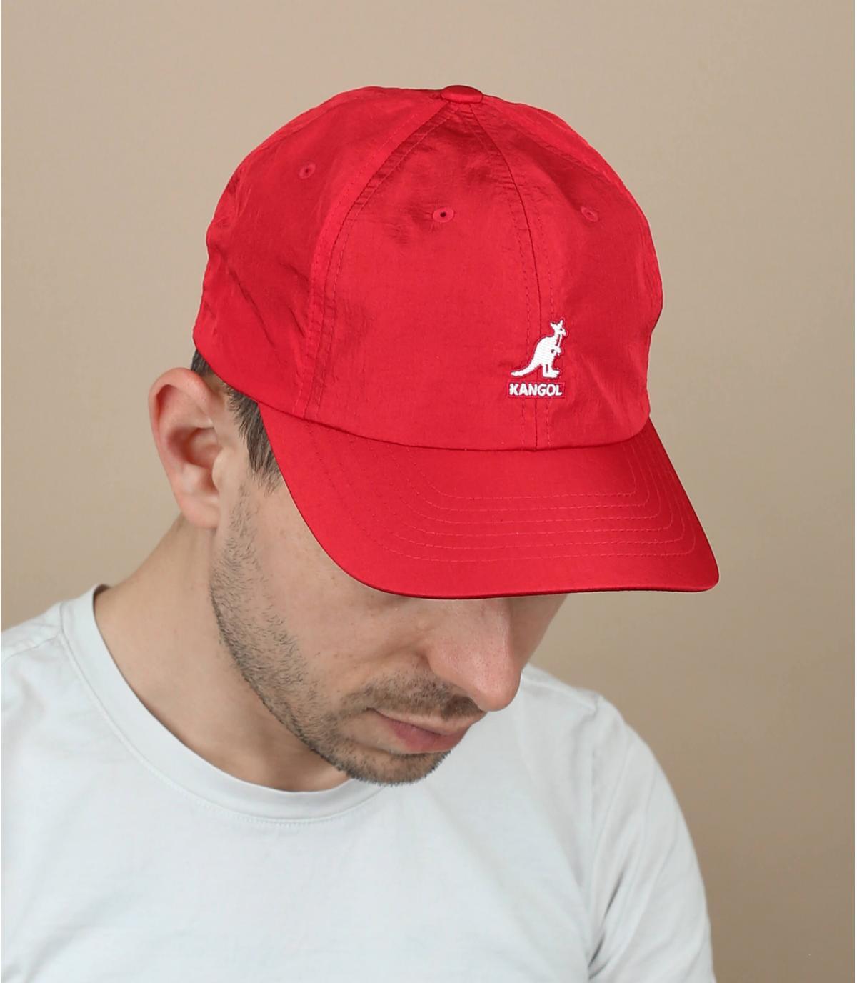 Red nylon cap Kangol