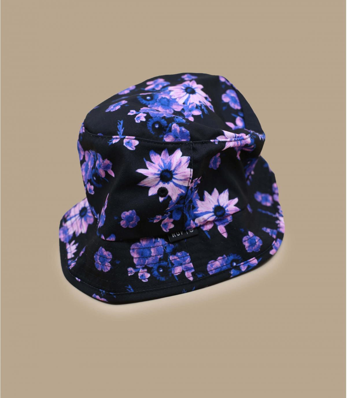 Black bucket hat flowers Huf