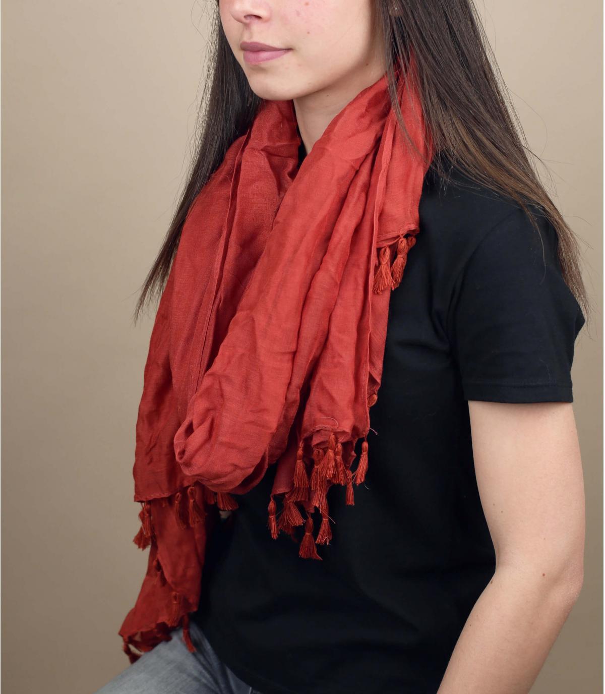 Orange viscose scarf