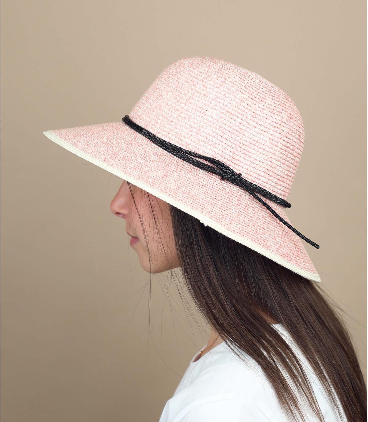 straw wide brimmed hat purple