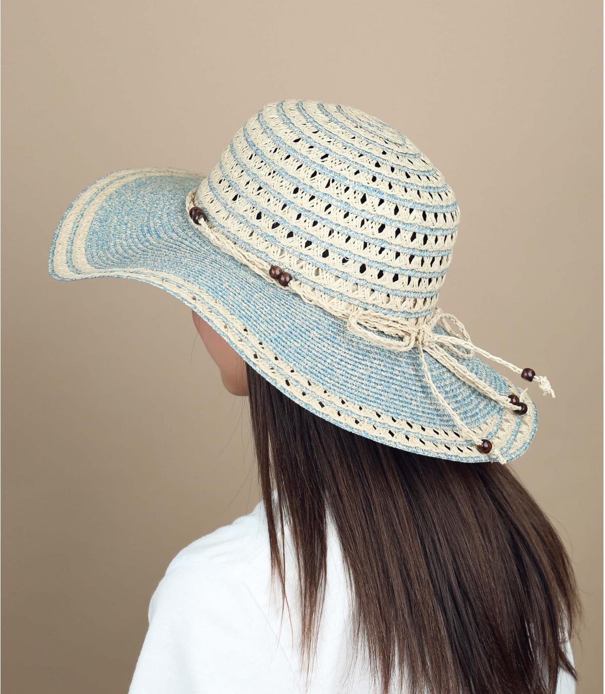Beige blue large brimmed hat