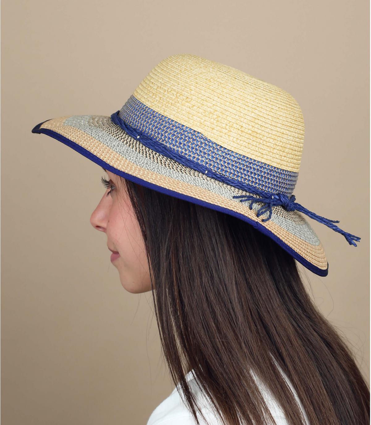 Beige striped floppy hat