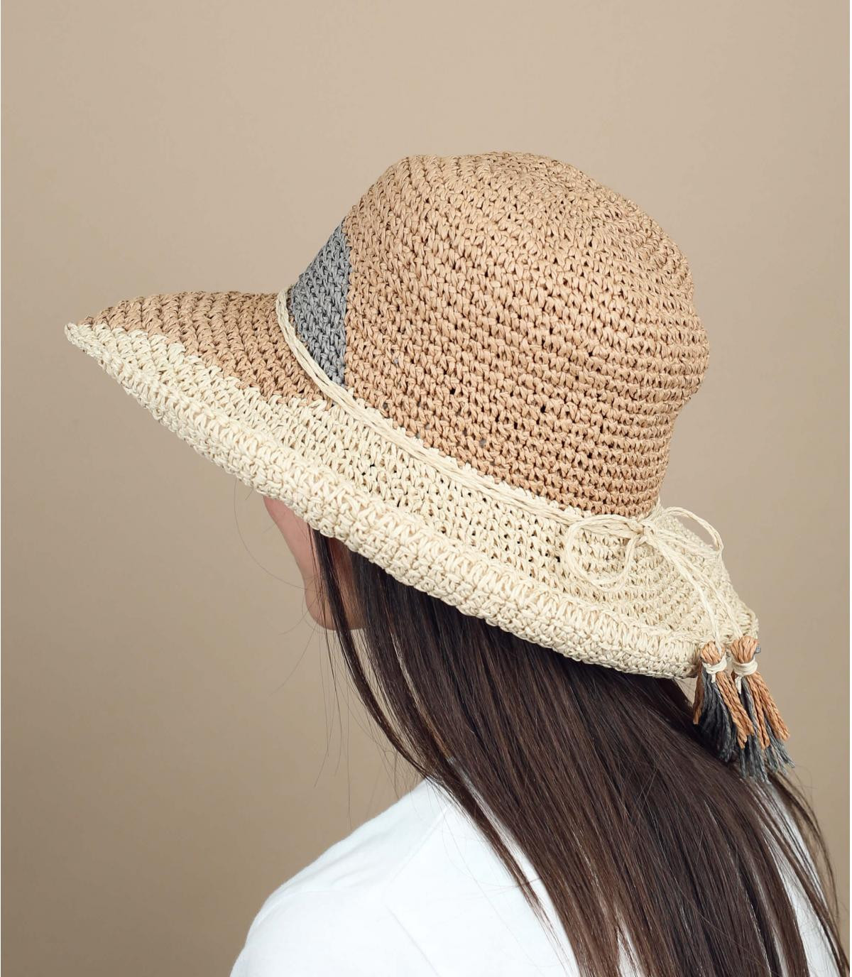 multicoloured wide-brimmed straw hat