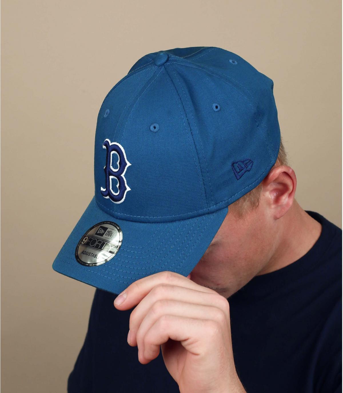 blue grey B cap