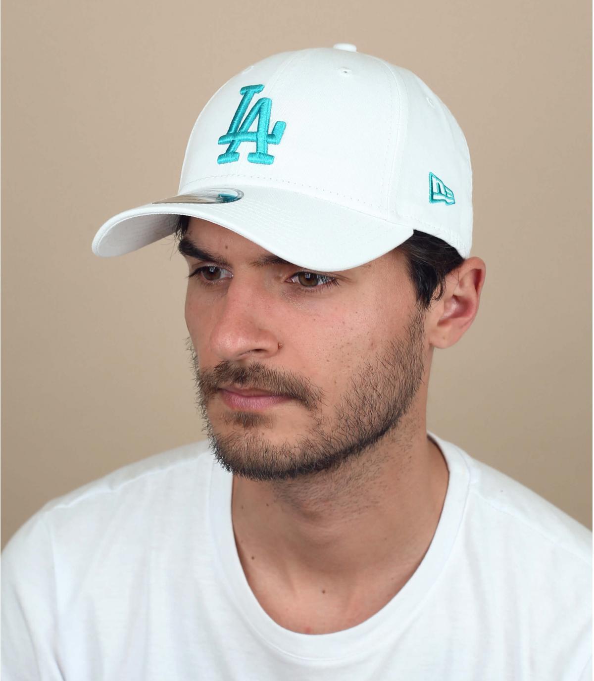 white LA curve cap