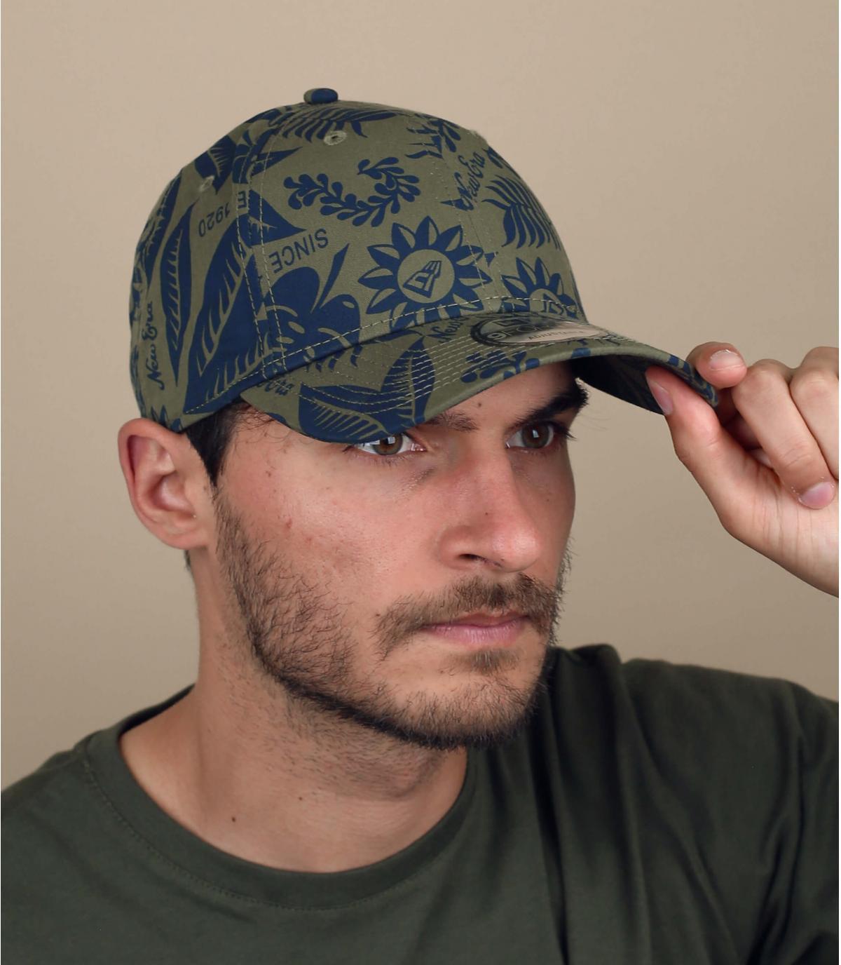 green printed cap