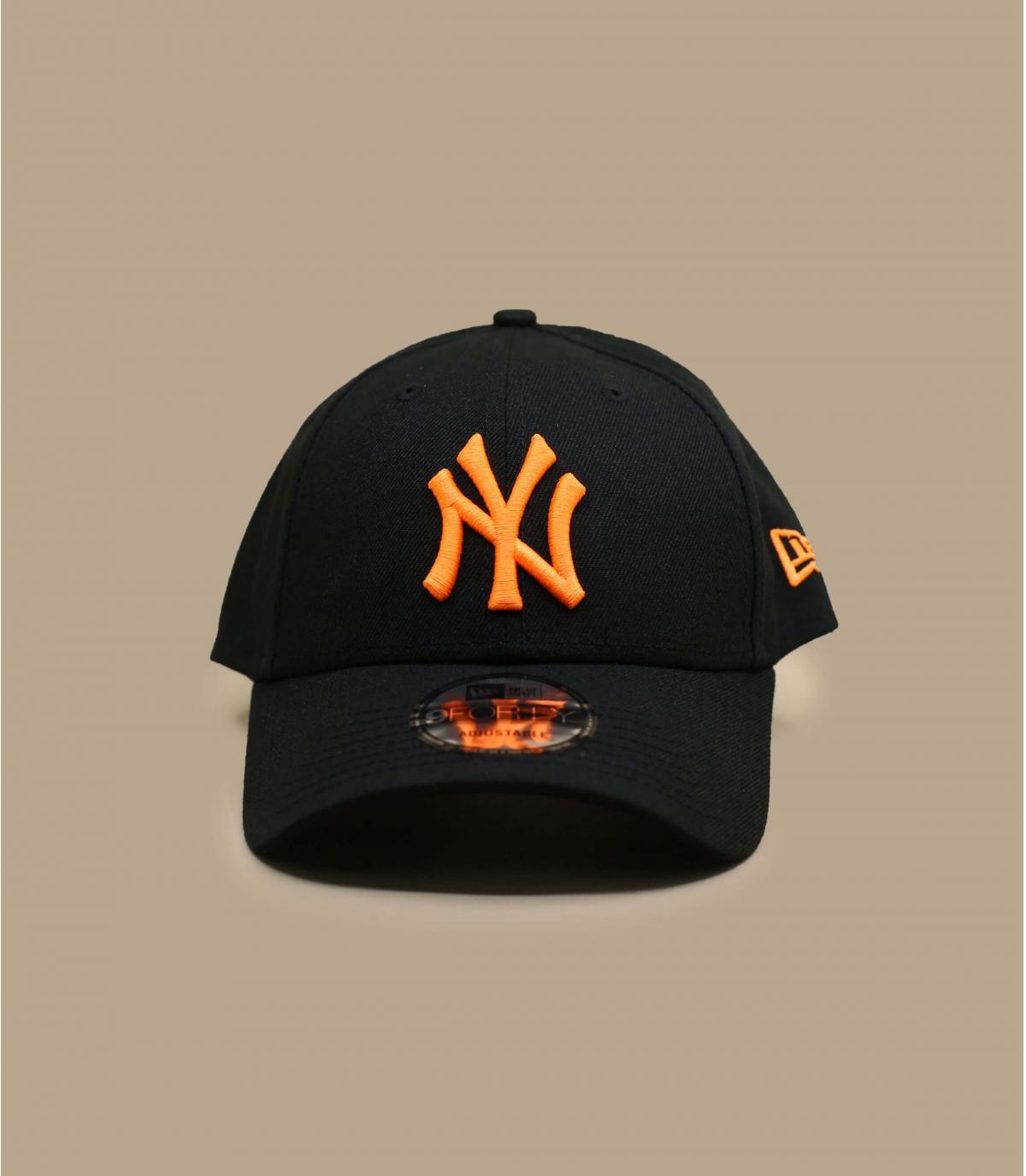 black fluorescent orange NY cap