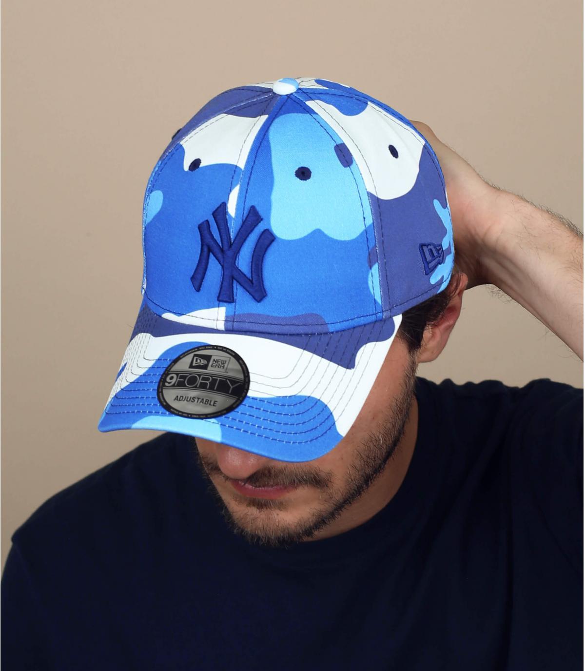 blue camo NY cap