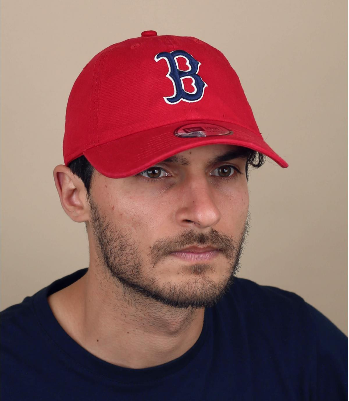 B red unstructured cap