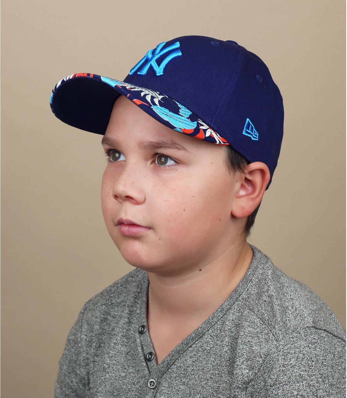 black blue NY child cap