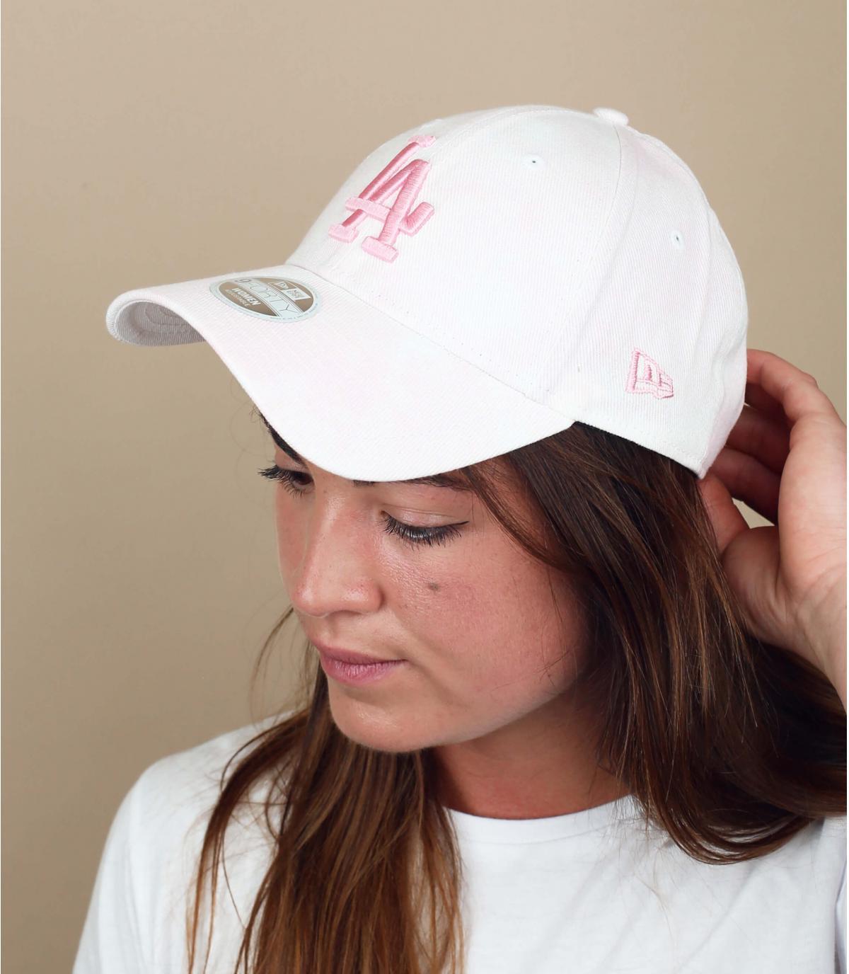LA cap white pink