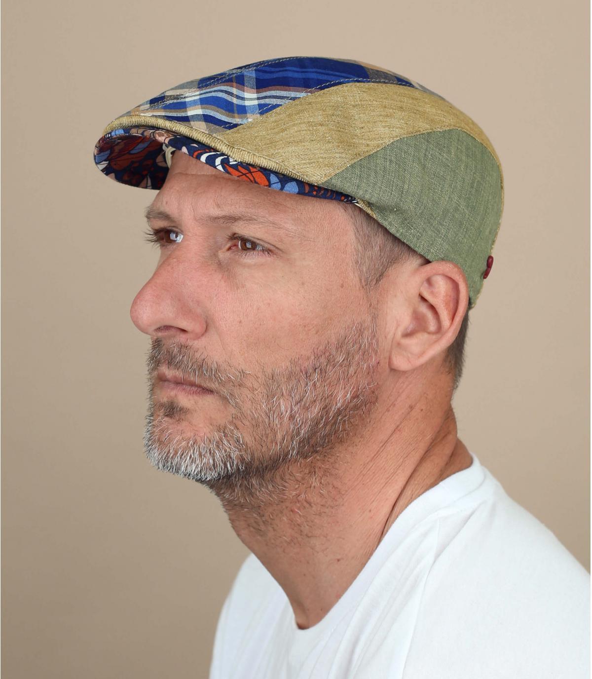 Blue beige linen cap