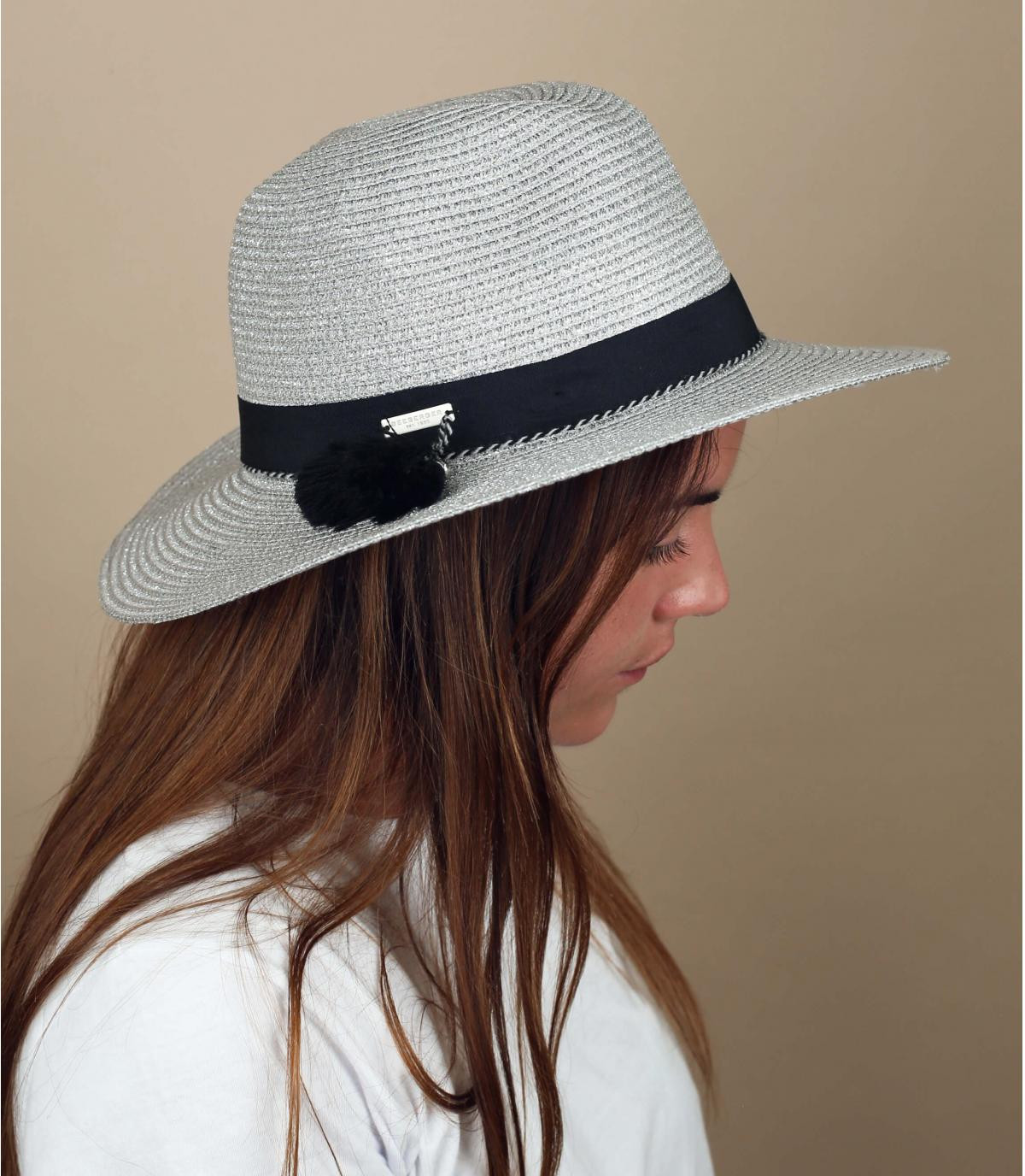 silver straw hat