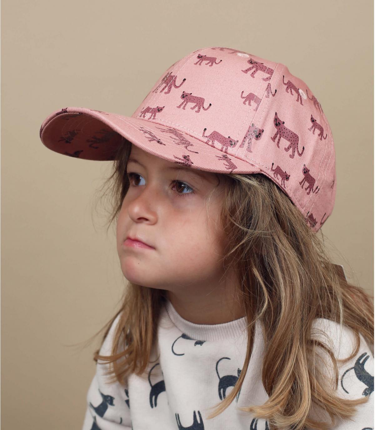 Pink baby cap leopard