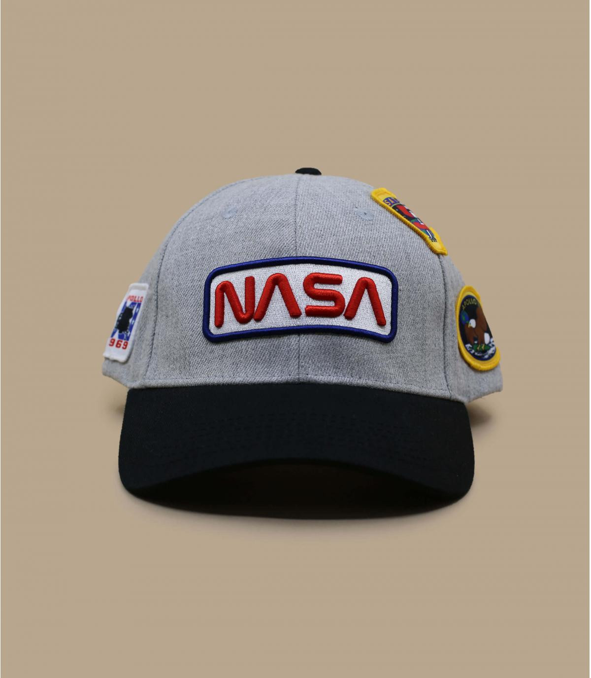 grey and black NASA cap