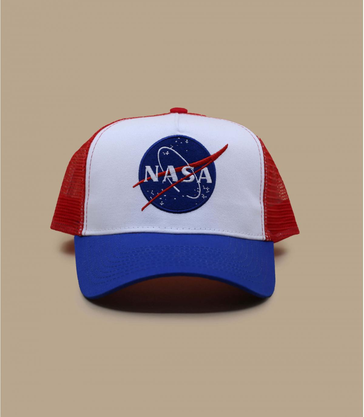 blue white red NASA trucker