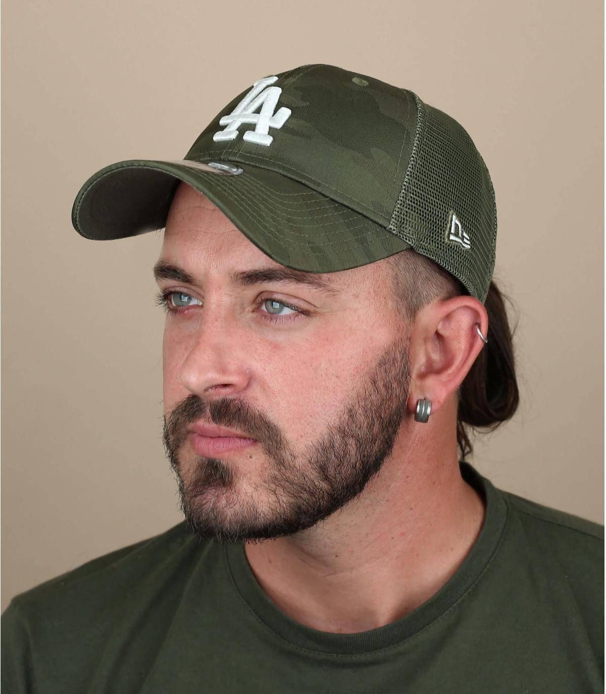 green camo LA trucker