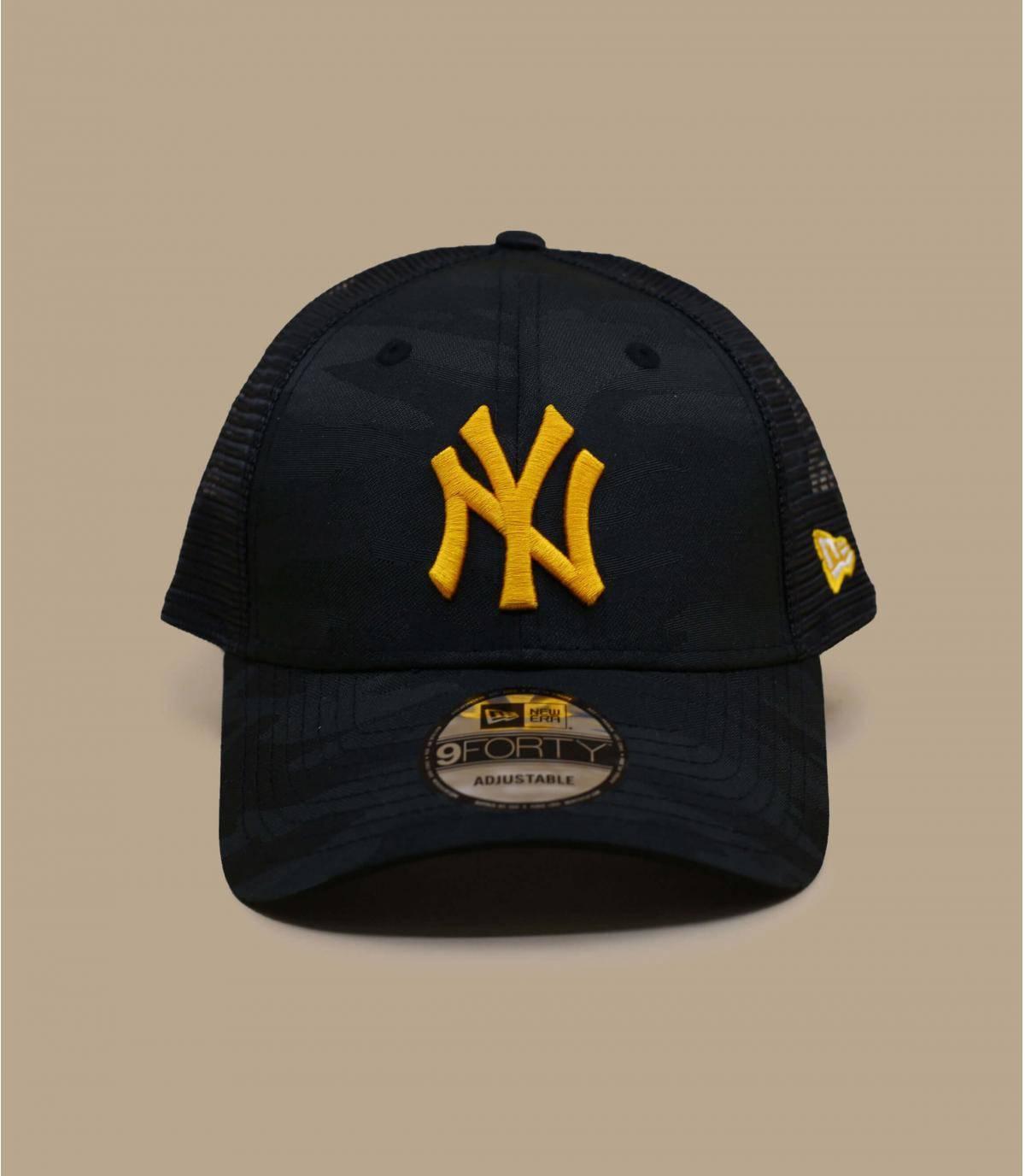 Yellow camo NY trucker cap