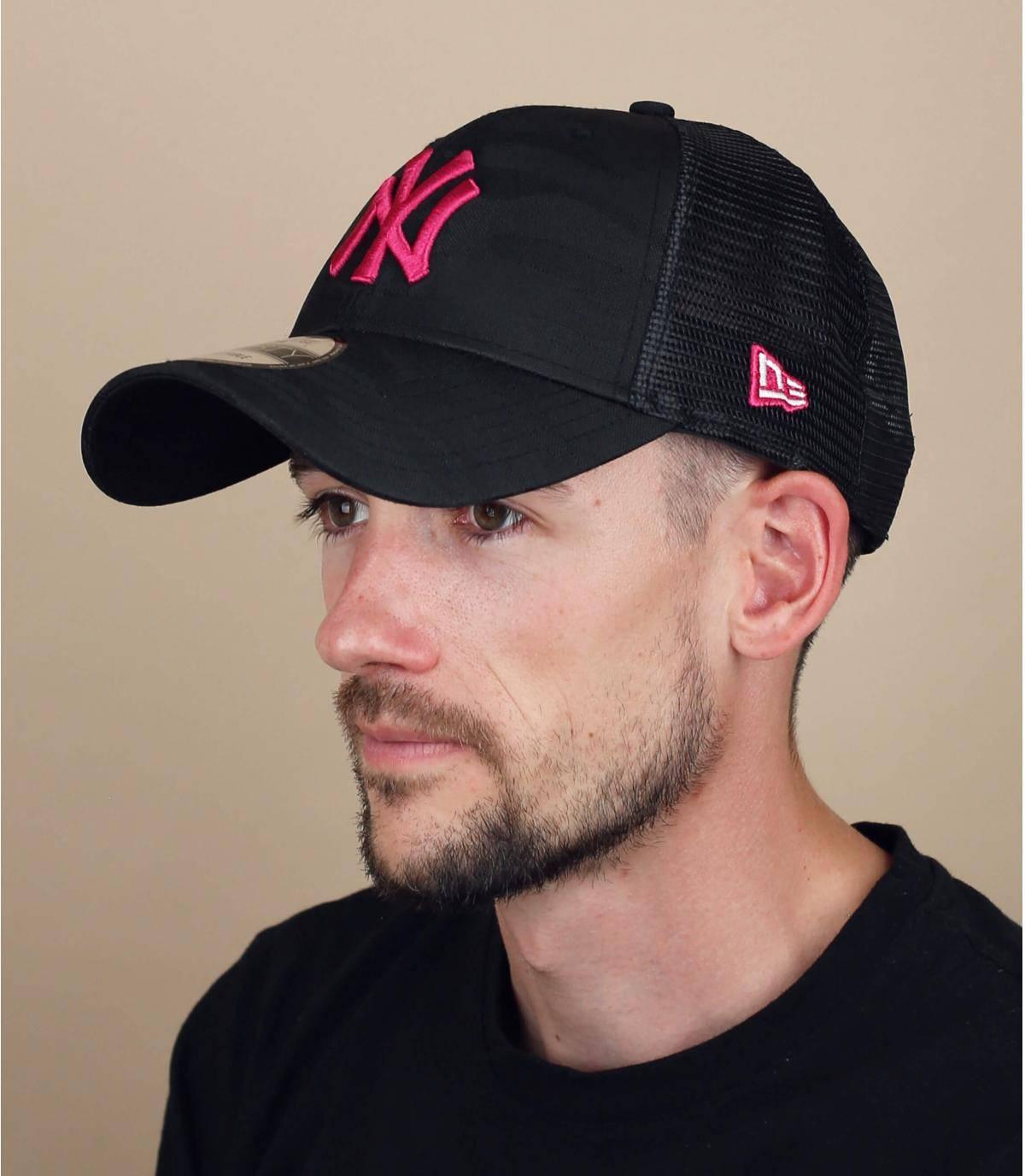 camo pink NY trucker cap