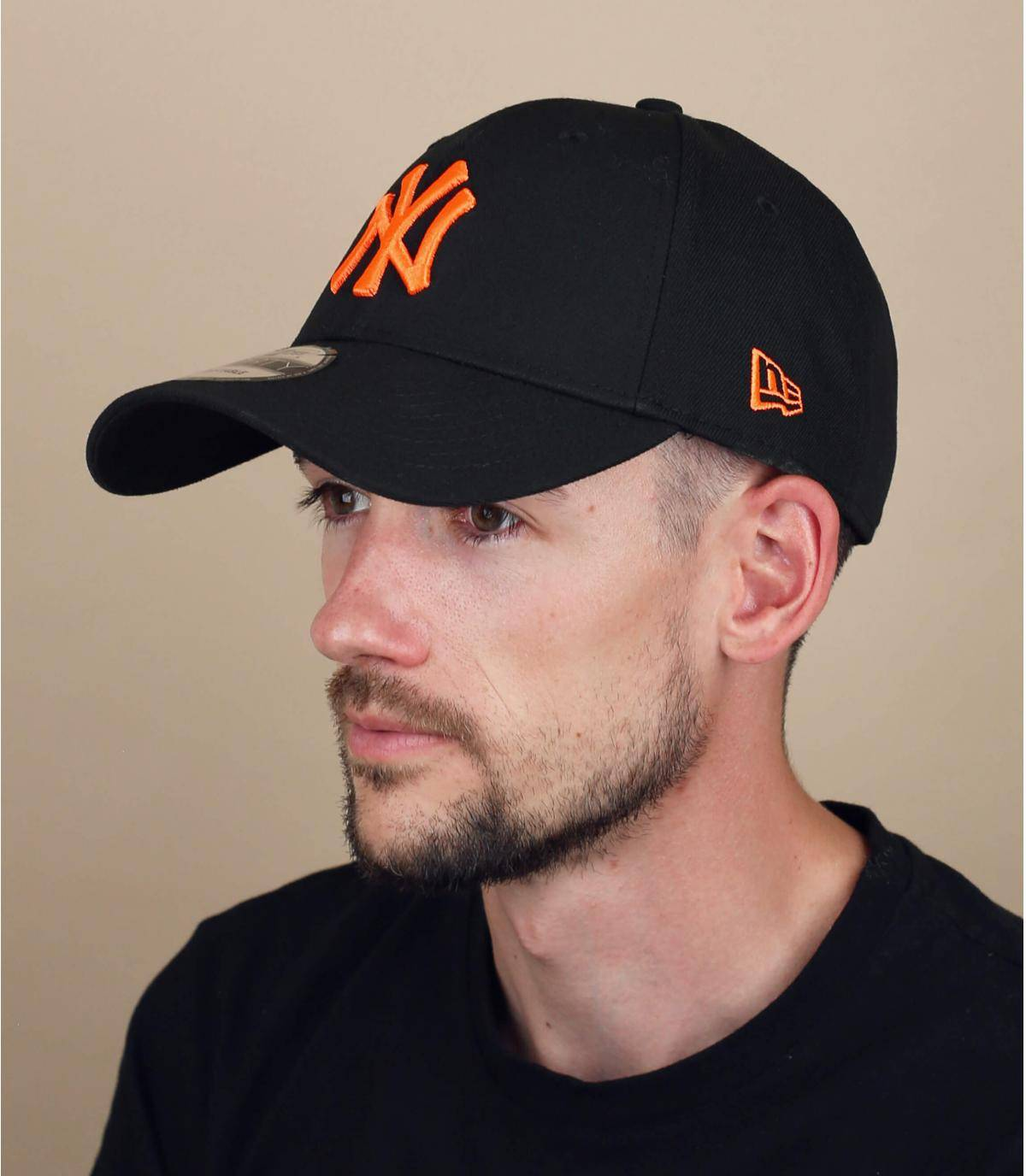 black orange NY cap