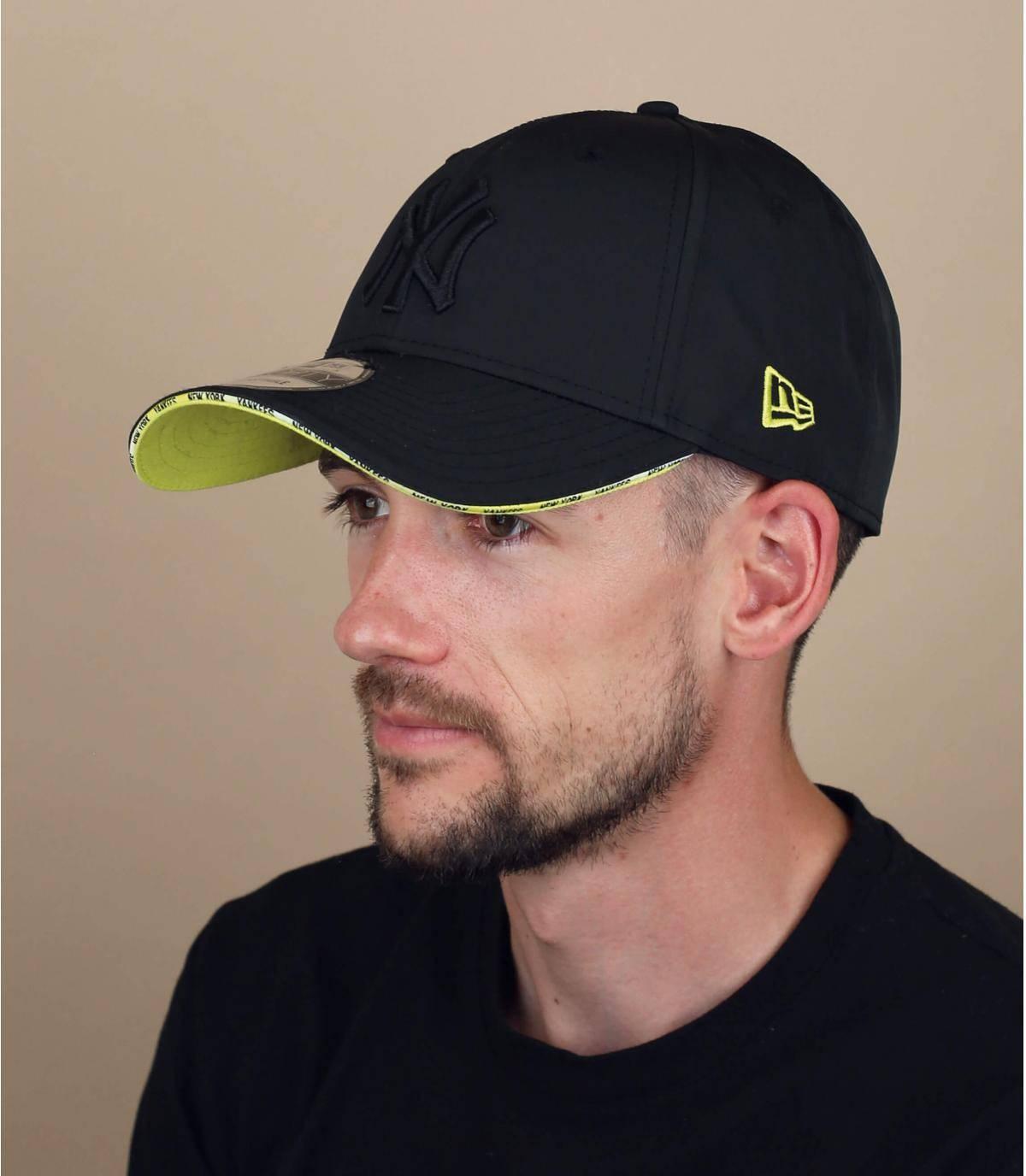 black yellow NY cap
