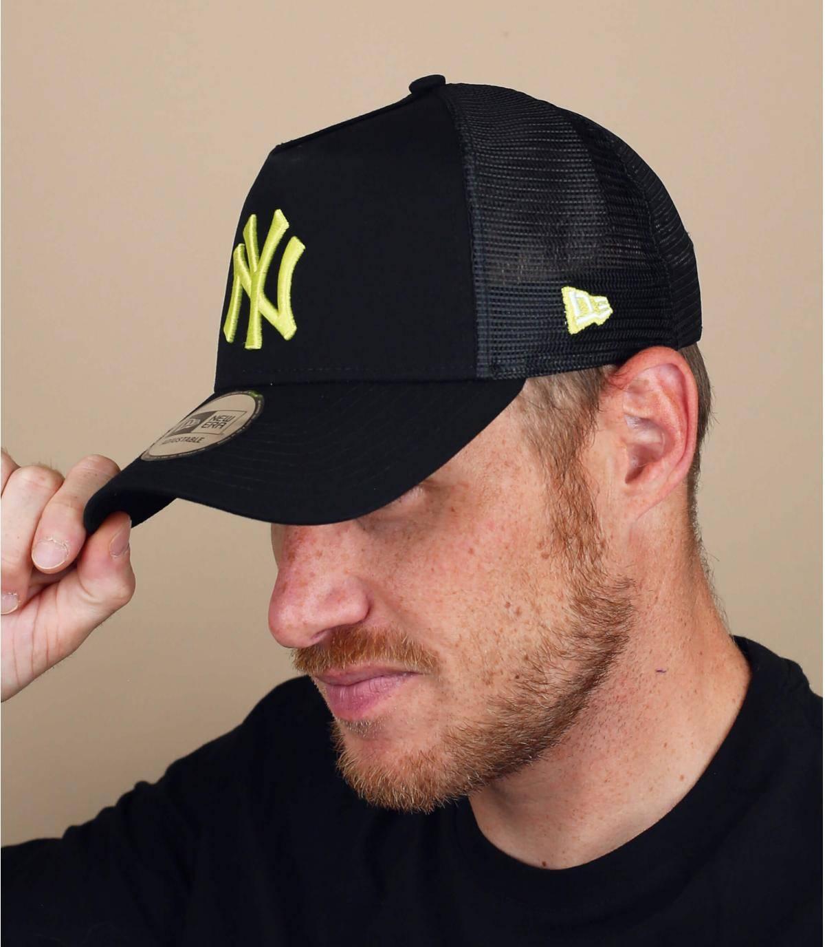 black yellow NY trucker