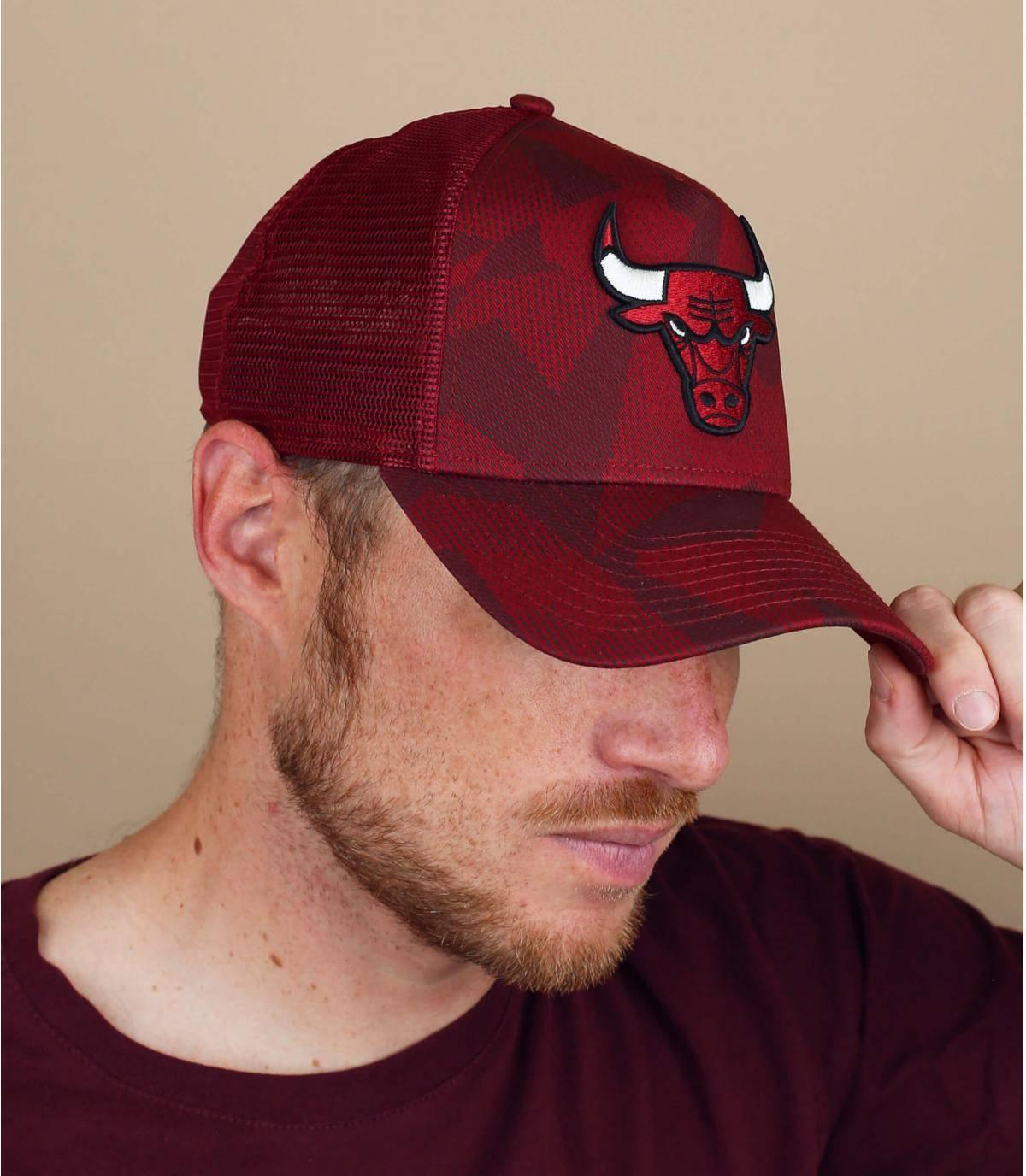 red Chicago Bulls trucker