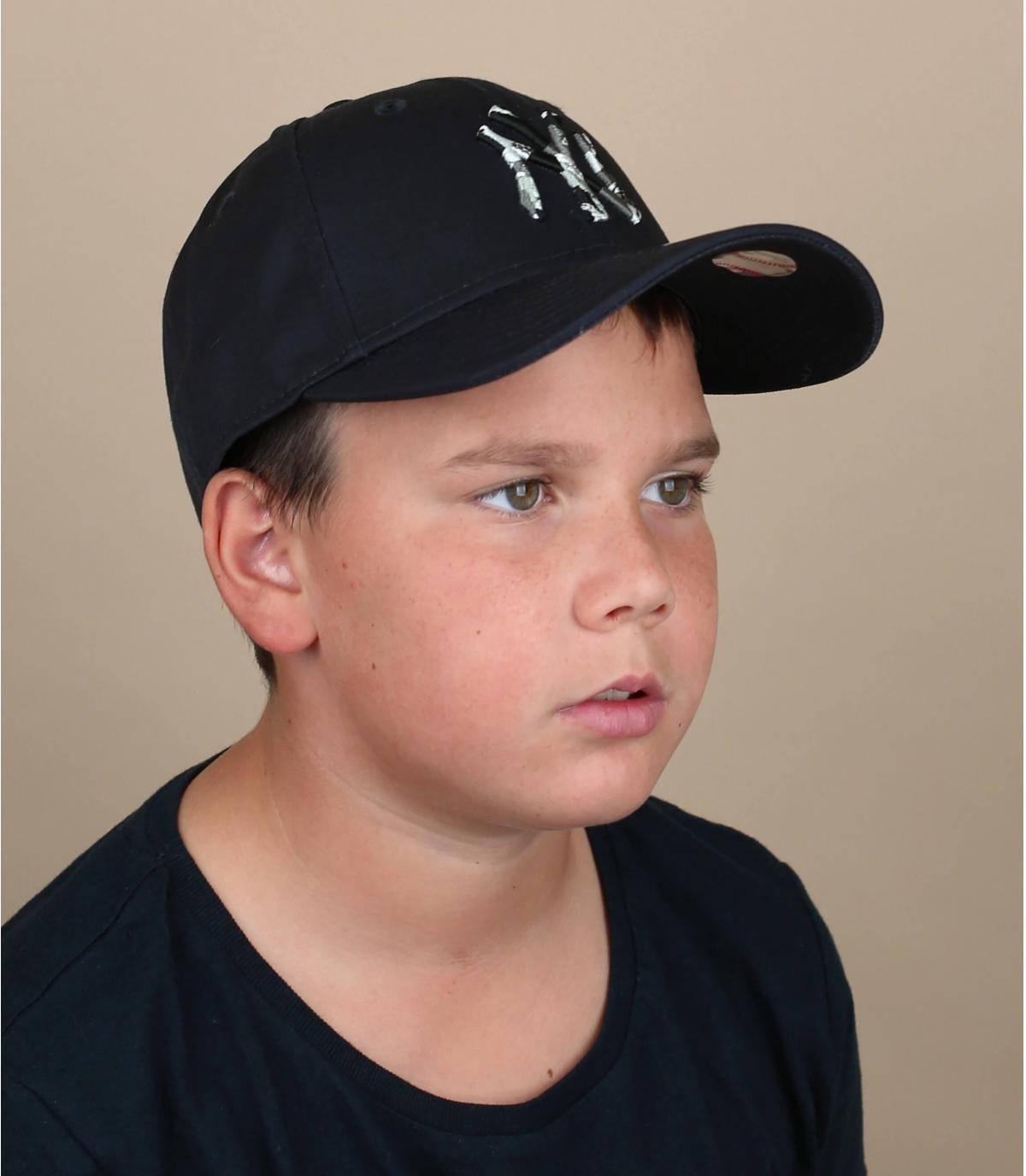 blue NY cap kid