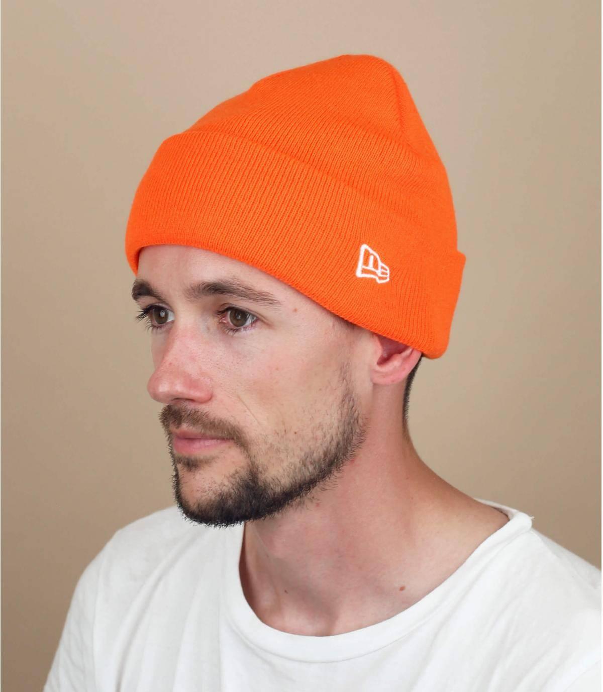 orange New Era beanie