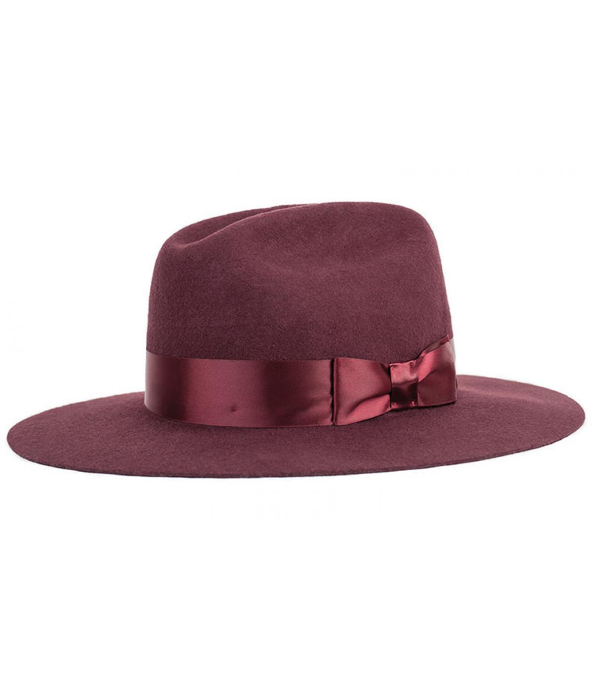 Burgundy women felt hat - Tara fedora maroon by Brixton. dccc2df4f5a