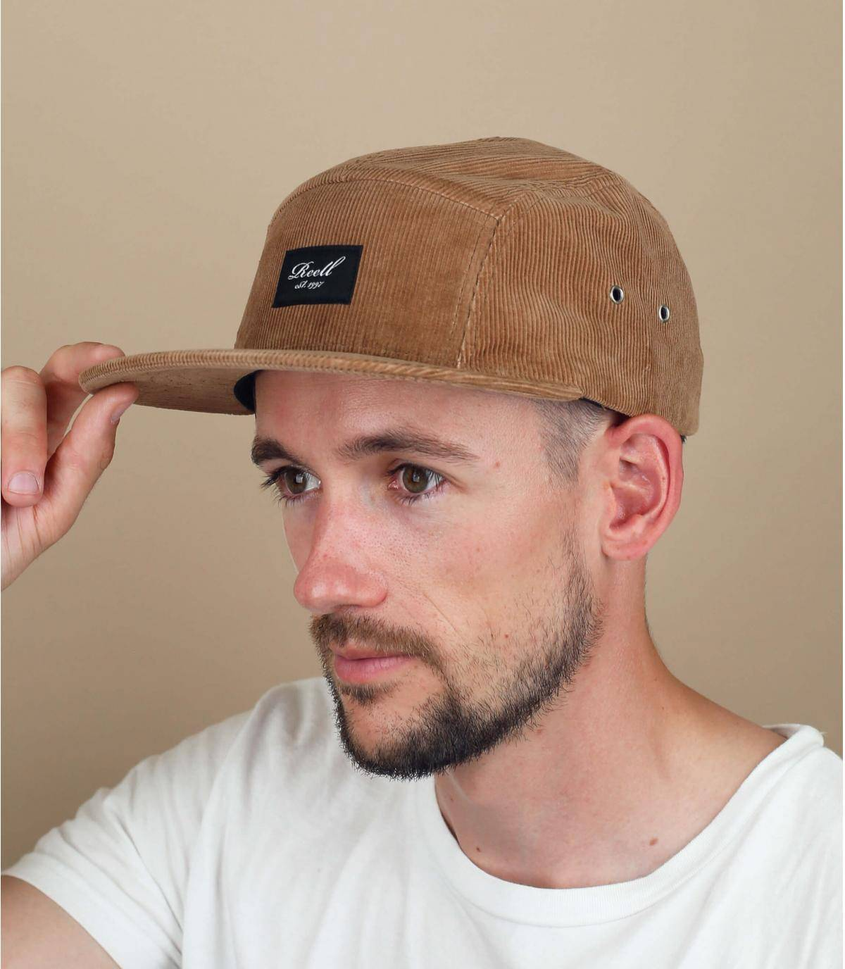 Brown corduroy5 panel cap