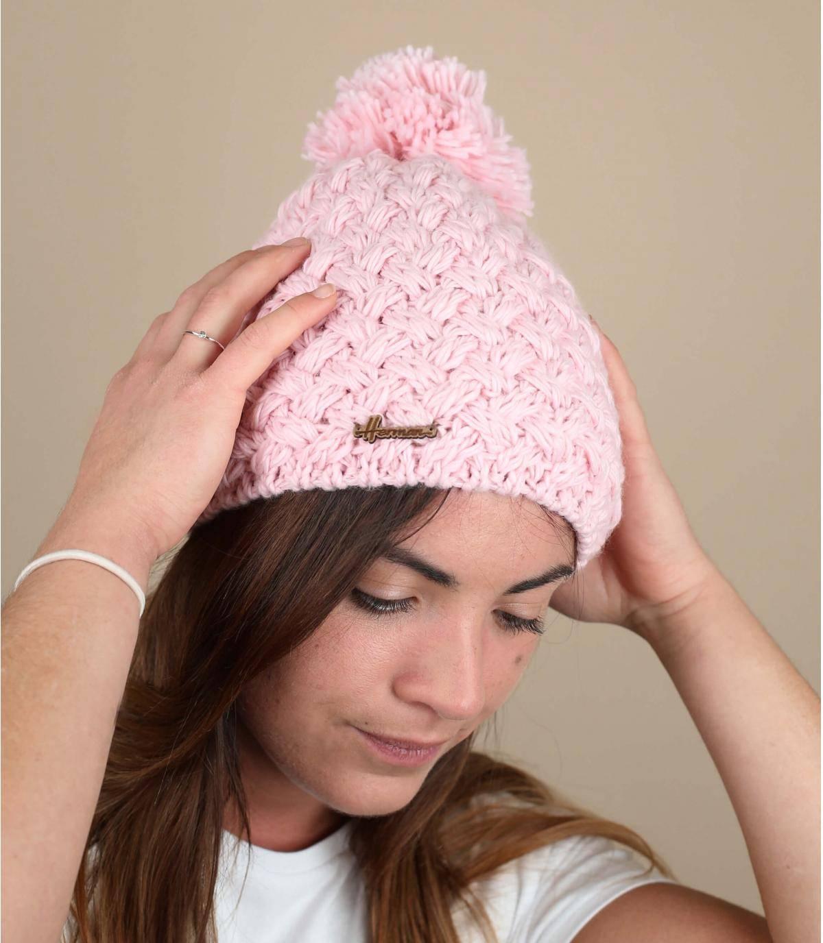 Pink pompom beanie