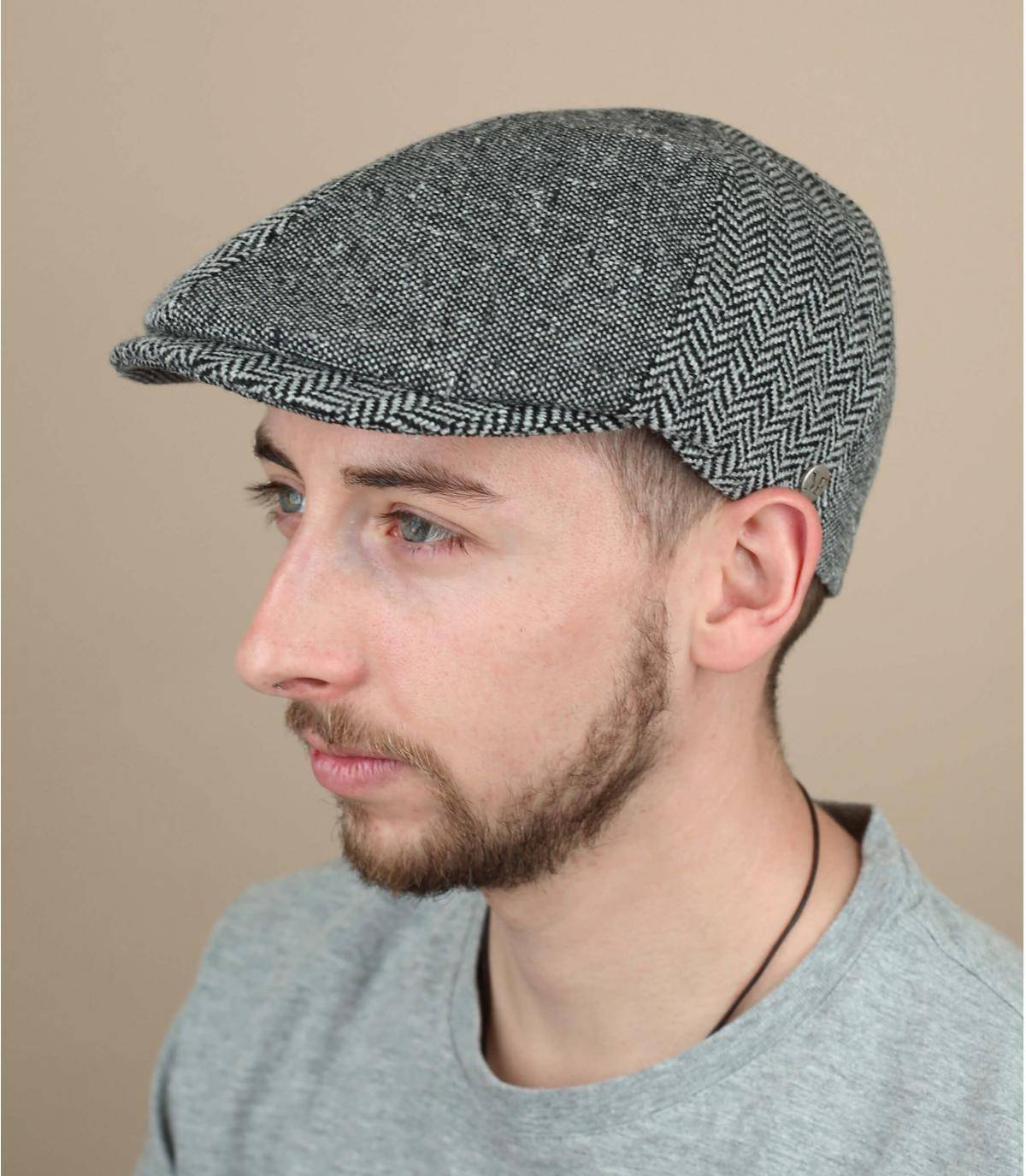 grey flat cap wool silk