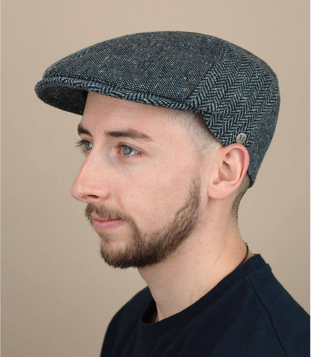 Blue wool silk cap