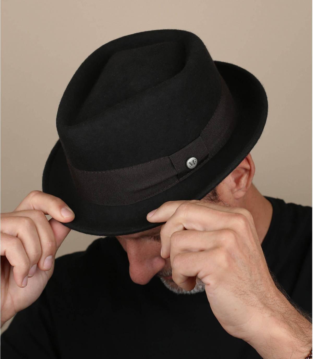 Brown pork pie hat