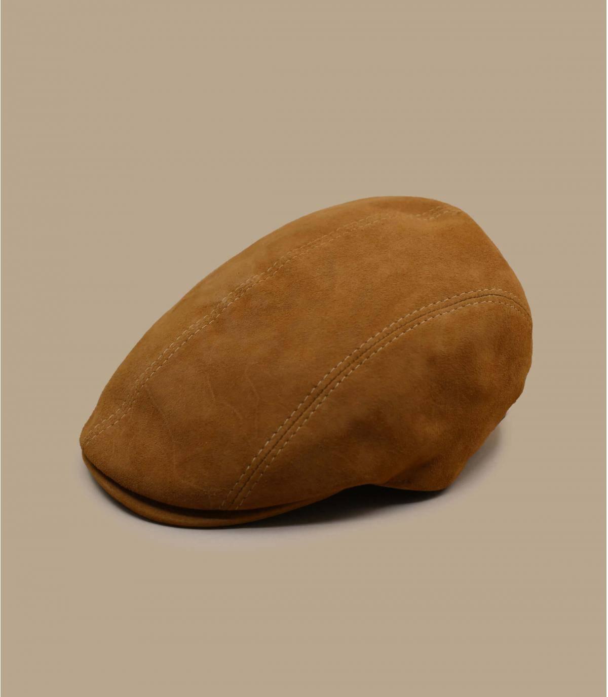beige leather beret