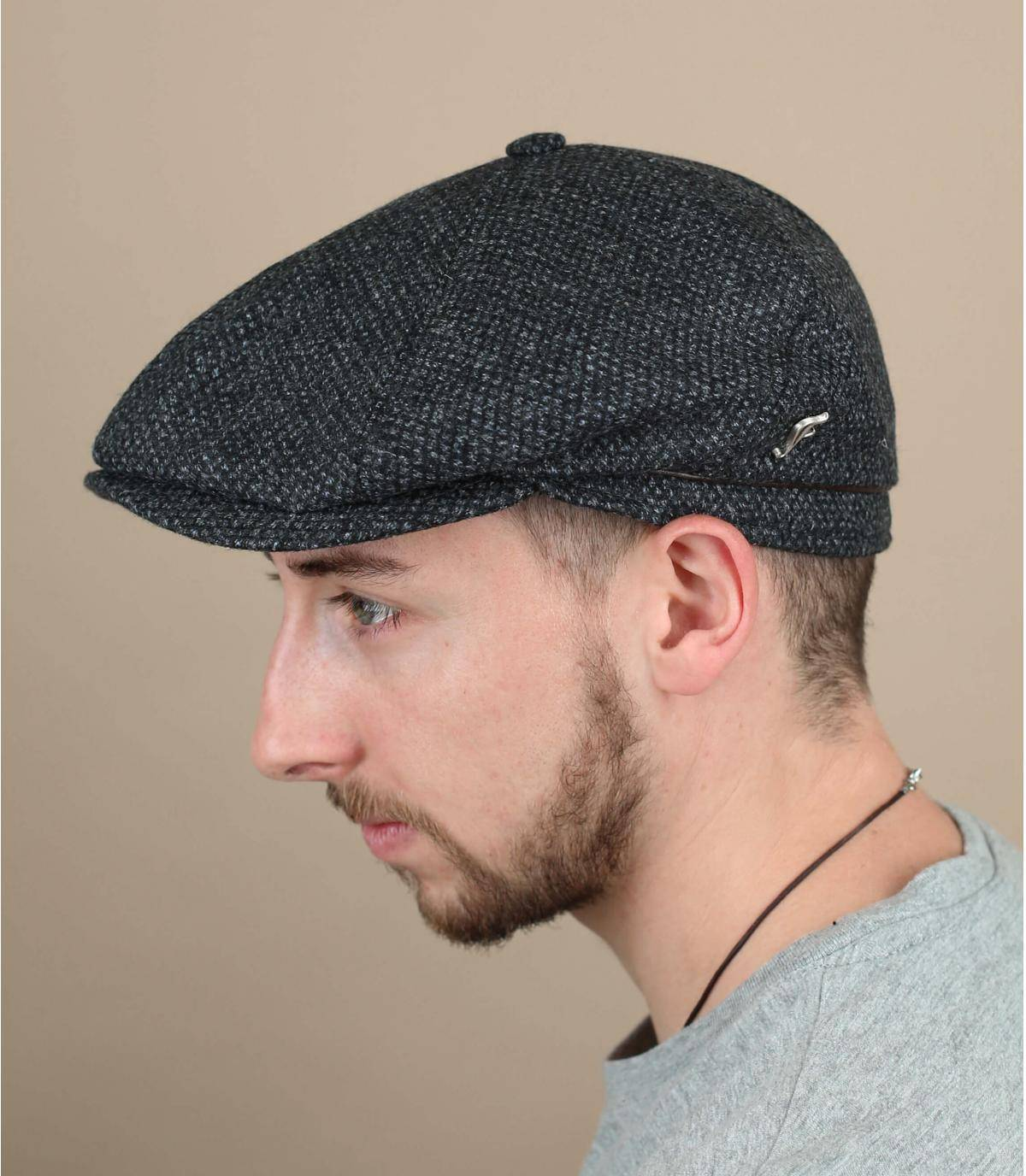grey flat cap wool