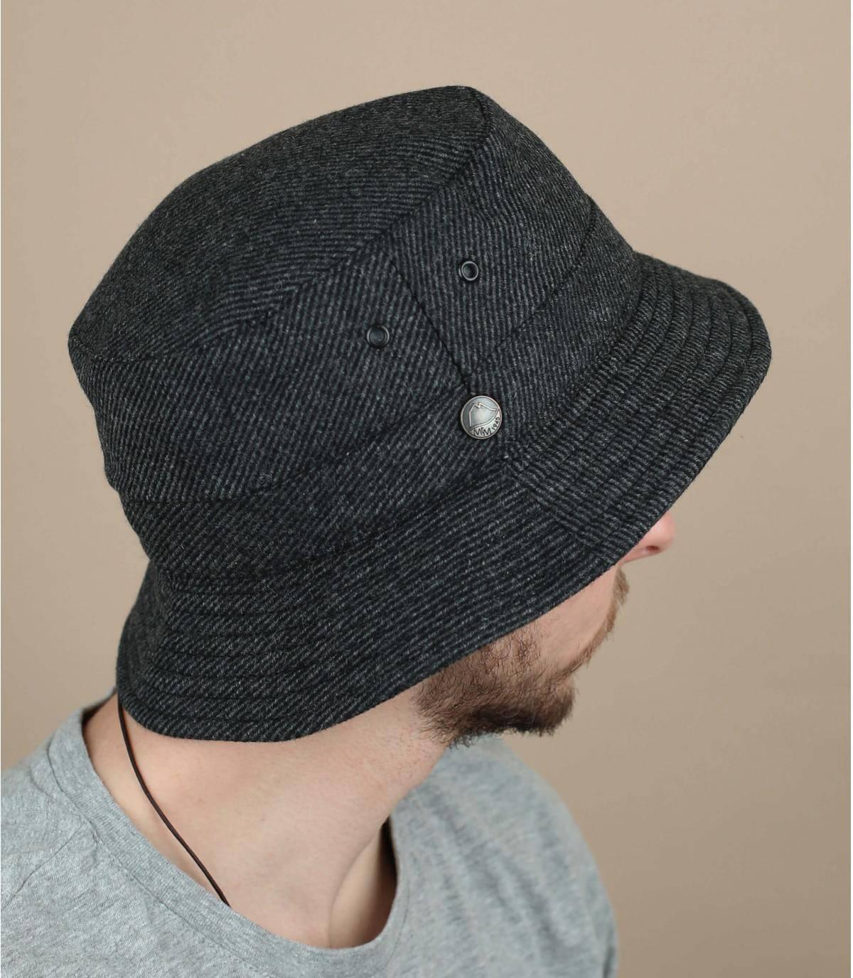 Grey recycled wool bucket hat