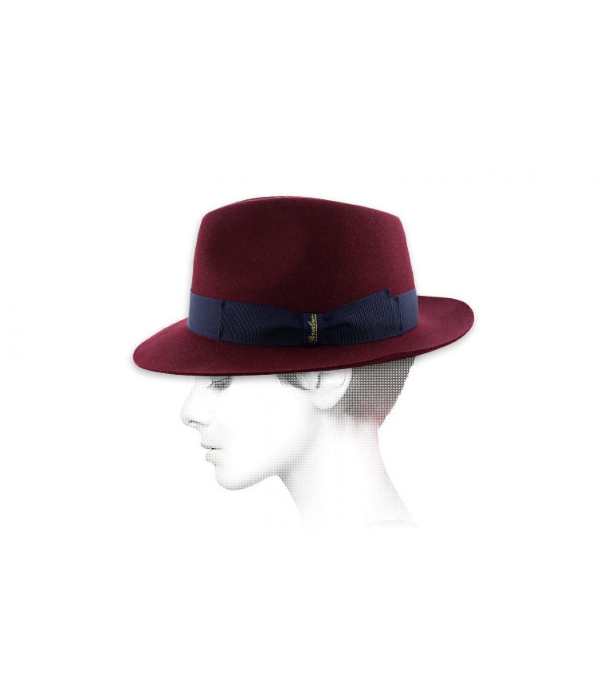 burgundy borsalino hat