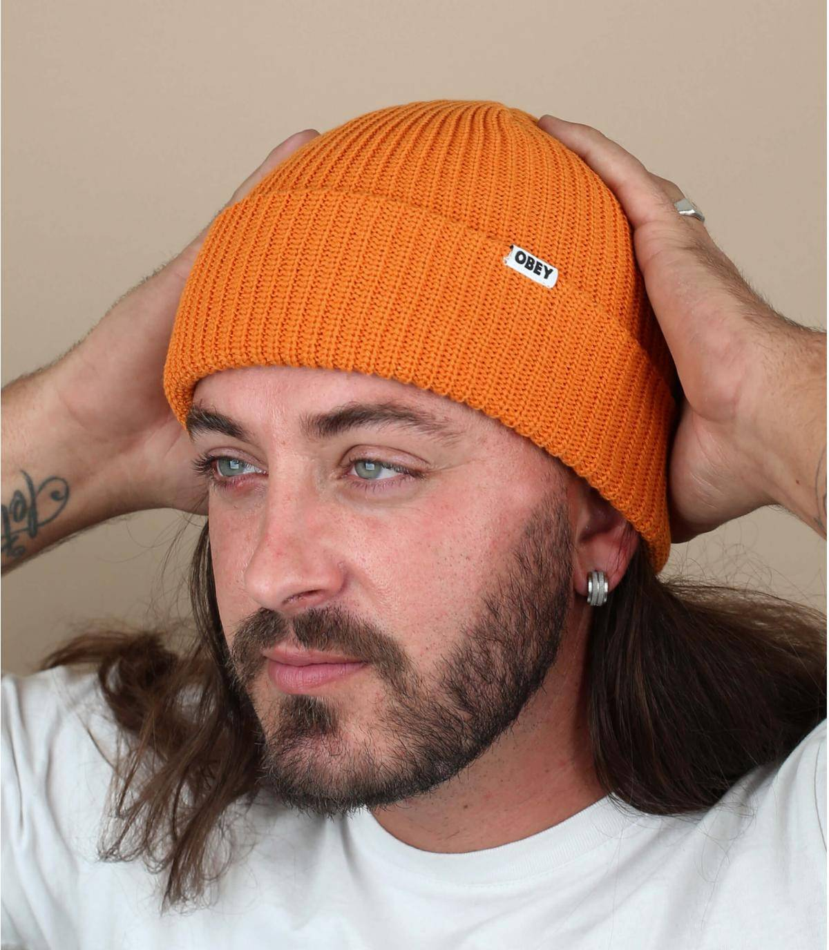 Orange docker beanie