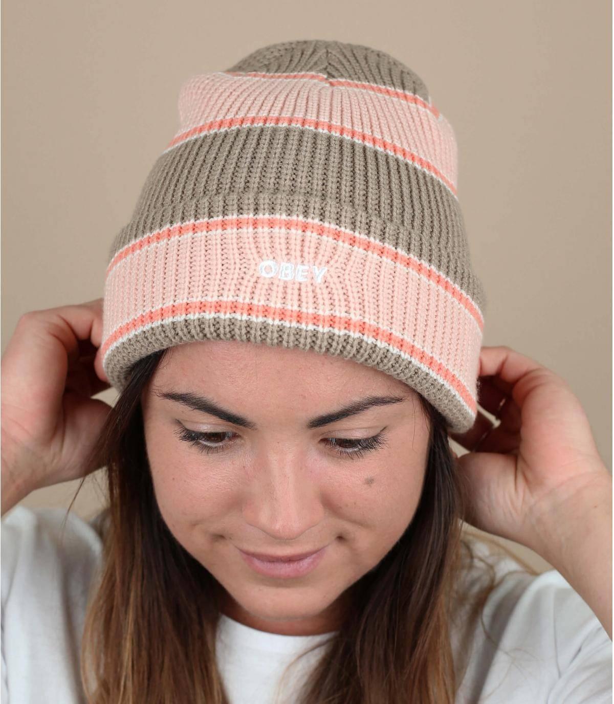 Pink striped beanie