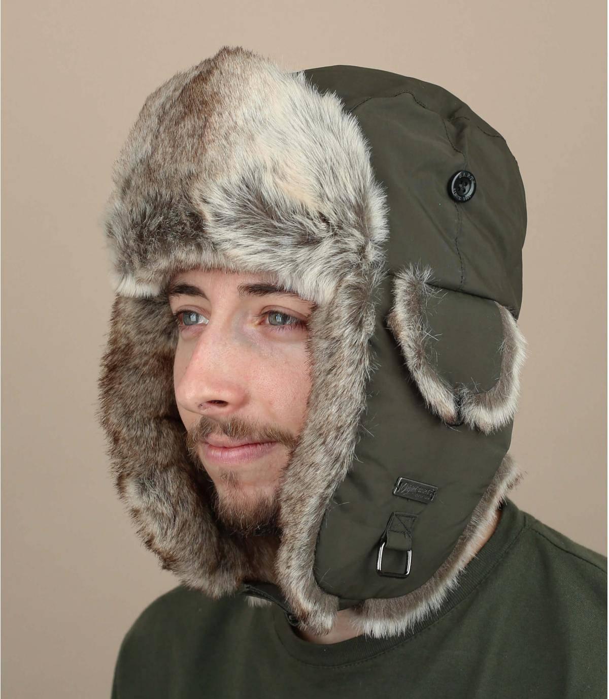 Green fur trapper hat