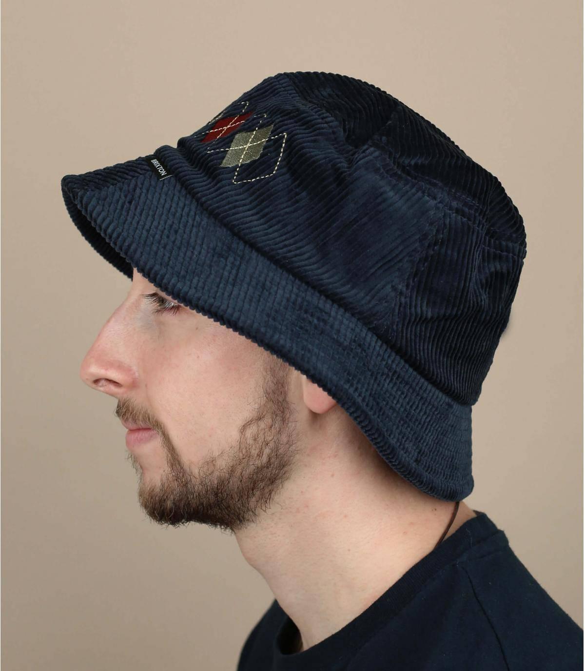 Blue velvet bucket hat